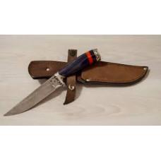 Нож  Ирбис  (ст.дамасск,эксклюзив. дерево, литье мельхиор)